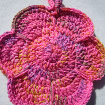 Crocheted Pot Holders Flowers Trivets Pink Hot Pads