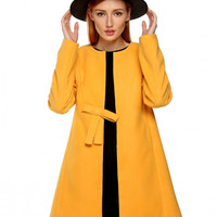 Collarless Bow Detail Coat