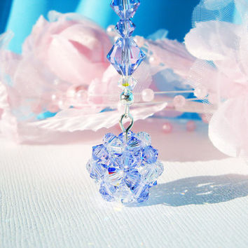 Lavender Crystal Ball Car Charm Swarovski Crystal Rear View Mirror Car Accessories