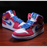 Nike Air Jordan Retro 1 High Tops Contrast Sports shoes Red blue hook G-CSXY