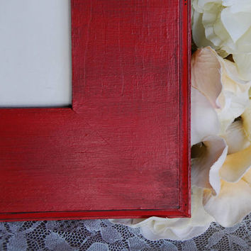 Ornate red 5x7 picture frame, Wood wall collage frame, Country chic home decor, Red nursery decor, Housewarming gift, Christmas gift ideas