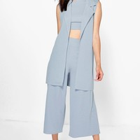 Petite Roma 3 Piece Crop Culotte + Duster Co-ord | Boohoo