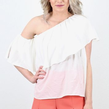 Ruffle Cold Shoulder + One Shoulder Blouse {White}