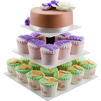 DYCacrlic 3 Tier Wedding White Cake Stand - Cupcake Tree - Square Cupcake Stands White 24 Cupcake Tower Display Holders - Pastry Stand For Birthday Party Baby Shower