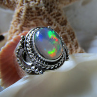 Crystal Opal Ring Sterling Silver Size 6