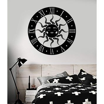 Vinyl Wall Decal Sun Clock Bedroom Art Decoration Stickers Mural Unique Gift (ig4931)