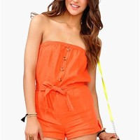 As a Button Romper - Orange