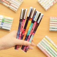 Korean 6Pcs/1 set Gel Pen Creative Cartoon Pen Black Pen