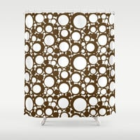 Brown Geometric Abstract Modern Circle Art Shower Curtain by decampstudios