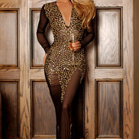 KATIE GOWN IN BLACK WITH GOLD