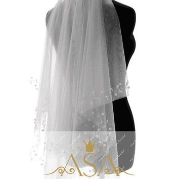 Short Pearls Beading Edge Bridal Two-layer Tulle Short Wedding Veil