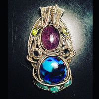 Handmade Wire Wrapped Pendant with Gemstones Handmade in the USA