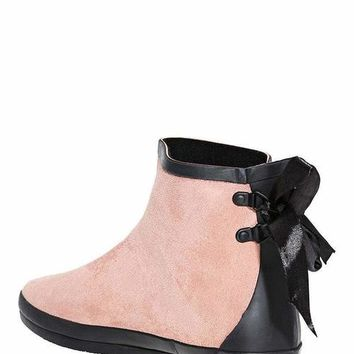 Tie Up Pink Ankle Welly Boots