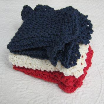 Knit Dishcloth/Washcloth/Dish Rag/Wash Rag Set of two Made with 100% Cotton Yarn in Red,White and Blue Ready to ship