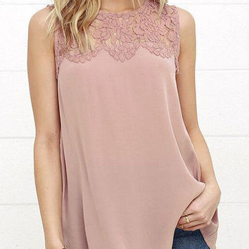 Lace Hollow Stitching Linen Sleeveless Blouse