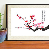 Watercolor Print red plum flower with traditional Chinese painting with poetry watercolor painting floral art wall decor home decor wall art