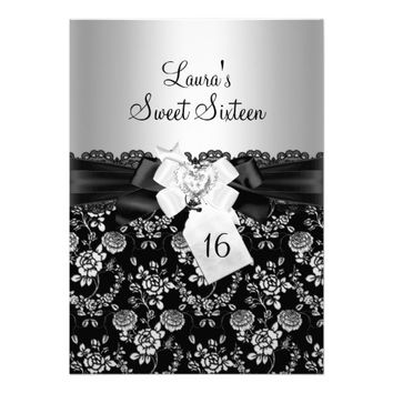 Sweet 16 Black Lace Bow & floral Invitation
