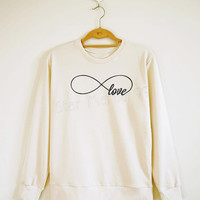 Infinity Love TShirt Forever Love Shirt Infinity Shirt Cool Shirt Sweater Sweatshirt Jumpers Long Sleeve Women Shirt Unisex Shirt Size S,M,L