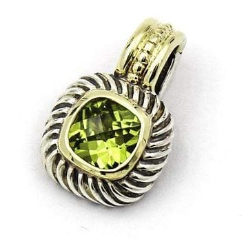 DAVID YURMAN Peridot Pendant in Sterling Silver and Gold Cable Classics Enhancer