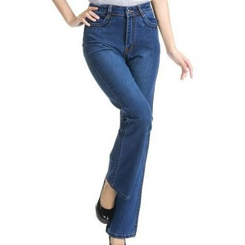 Summer elastic plus size bell bottom jeans female trousers women's high waisted pants