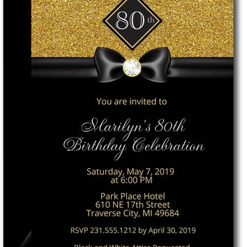 Gold Formal Adult Birthday Invitations