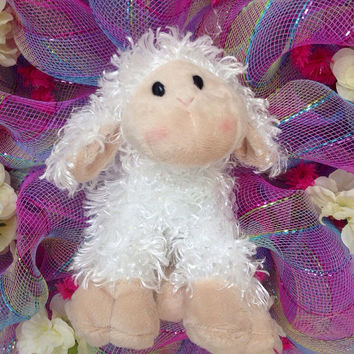 Soft Adorable Baby Lamb Deco Mesh Wreath For Nursery Or Easter
