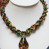Rasta  Phatty Glass Mushroom Hemp Necklace   handmade macrame jewelry  mens  guys  hippie  jah