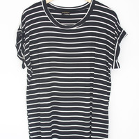 Cuffed Shirt Dress - Striped