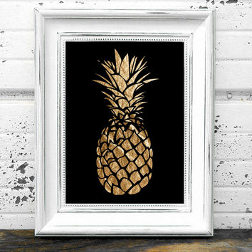 Gold Pineapple Print  // Pineapple Print // Instant Download Gold Pineapple Print // Modern Art // Pineapple Art // Black & Gold Art