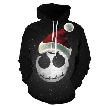 Skateboarding Hoodies 3D Starry Christmas Hat Digital Print hoodies men/women's Sports funny print pullover harajuku hoodie
