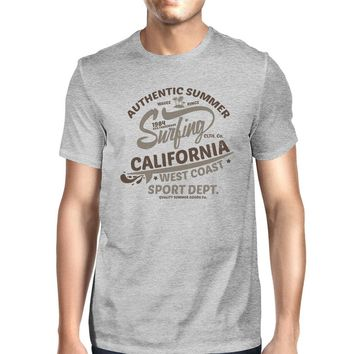 Authentic Summer Surfing California Mens Grey Shirt
