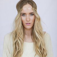 Chain Head Piece Gold Linked Leaf Bohemian Free Spirited Women's Fashion Hair Accessories Hair Bands Head Wraps (ALL LEAFS)