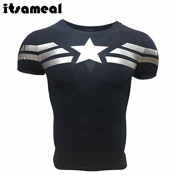 SUPERHERO Captain America 3d T shirt Men Layer Thermal Under fitness Shirt Crossfit Tops