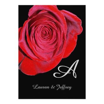 Red Rose Monogram Wedding Invitation