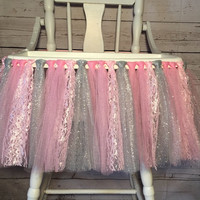 Pink and Silver High Chair Tutu - High Chair Skirt - Highchair tutu - Highchair skirt - Pink and Silver 1st Birthday - Highchair Banner