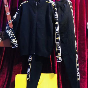 FENDI Mania Knit Jacket  + Knit Pants Set Two-Piece