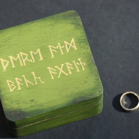 The Hobbit Jewelry Box - Green with Gold Runes - There and Back Again....