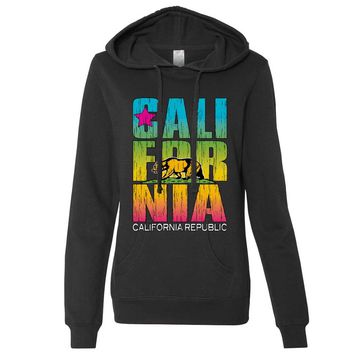 California Republic Neon Retro Bold Ladies Lt./Wt. Hoodie
