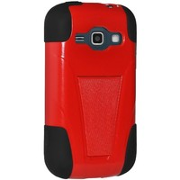 Amzer AMZ96044 Double Layer Hybrid Case Cover with Kickstand for Samsung Galaxy Prevail II M840/Samsung Galaxy Ring M840 - Retail Packaging - Black/ Red