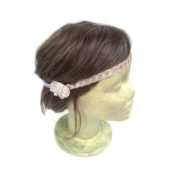 Champagne Flapper Headband, Great Gatsby 1920s flapper Headpiece, Costume Headpiece, Hair Accessory, Rhinestone, Beads