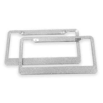 Diamond License Plate Frame, Ohuhu 2 Pack Bling Rhinestone Car License Plate Frames Holders with 7 Shiny Sparkling Crystal Rows, Metal Chrome Auto License Plate Cover with Mounting Screws, Silver