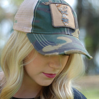 Judith March Camo Hat with Gold Deer