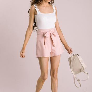 Carolina Blush Tie Front Shorts