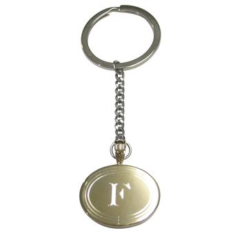 Gold Toned Etched Oval Letter F Monogram Pendant Keychain