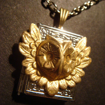 Victorian Style Steampunk Feathered Owl Head Locket Necklace (382)