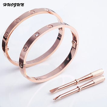 Rose Gold Silver Couples Bracelet for Women Men Nail Bangle Cuff Bracelet Jewelry Titanium Lover Bracelet Chain Bangle B17032