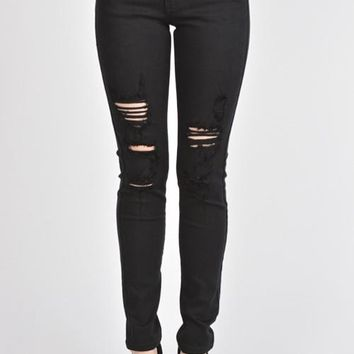 Midnight Shredded Skinny Denim