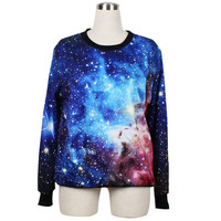 Women Girl Blue Galaxy Star Digital Printed Jumper Sweater Crew Neck Sweatshirt