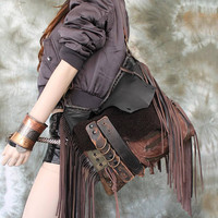 Brown leather bag few tones distressed  hobo tribal african bohemian boho festival purse sweet smoke free people distressed bag moroccan