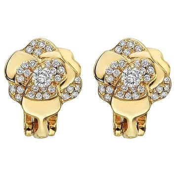 "Chanel ​Small Diamond Gold ""Camelia"" Earclips"